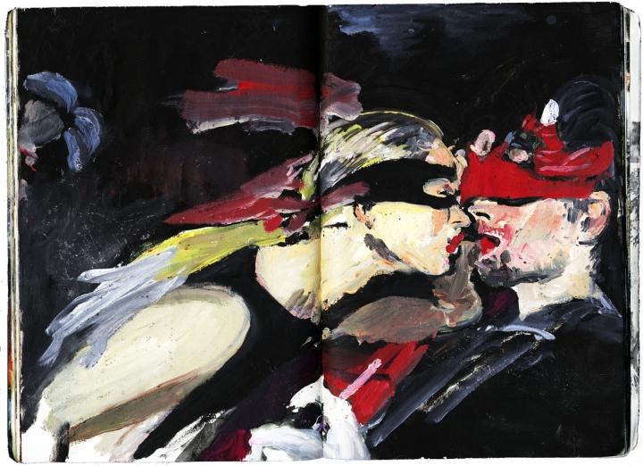 Eibl – Eibesfeld. Eine naturwissenschaftliche betrachtung kultureller verhaltensweisen öl und collage im taschenbuch 18,6 cm x 12,7 cm 2003-2005