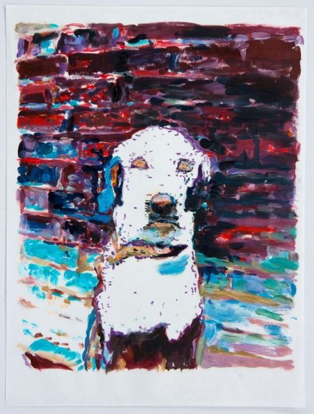 »ghost dog« öl/japanpapier   42cm x 29cm   2008