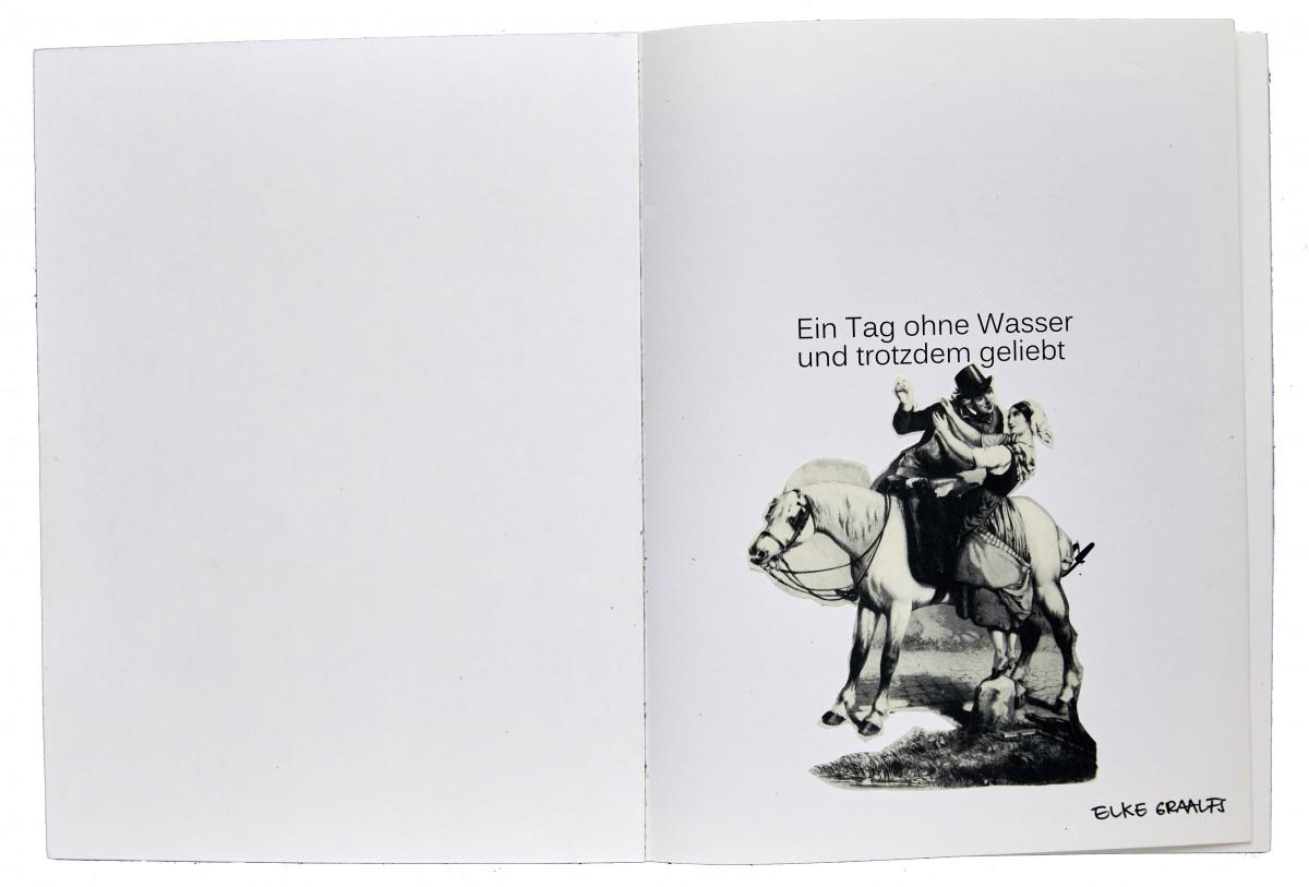 »Monomanisches B 1« oder ein tag ohne wasser und trotzdem geliebt« Collage im eigenen Katalog 26,5 cm x 30,5 cm 2017